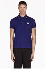 MONCLER Navy Cotton Piqué Polo for men