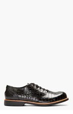 COMME DES GARÇONS HOMME PLUS Black Crocodile-Embossed Bowling Shoes for men