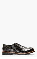 COMME DES GARÇONS HOMME PLUS Black Crocodile-Embossed Bowling Shoes for men