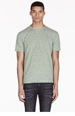 PAUL SMITH JEANS Green & White Striped T-Shirt for men