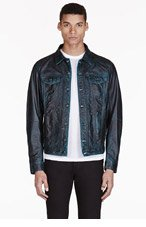 DIESEL Dark Peacock Green Leather Lelshar Jacket for men