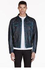 DIESEL Dark Peacock Green Leather Lelshar Jacket for men
