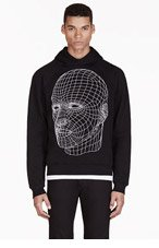 CHRISTOPHER KANE Black Grid Face Graphic Hooded Sweater for men