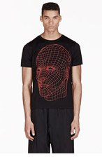 CHRISTOPHER KANE Black Grid Face Print T-Shirt for men
