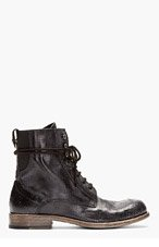 DIESEL BLACK GOLD Black leather cracked DANNY-BO BOOTs for men