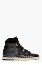 JIMMY CHOO Black Leather Reptile Barlowe Hi-Tops for men