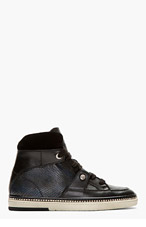 JIMMY CHOO Black Leather Reptile Barlowe Hi-Tops for men