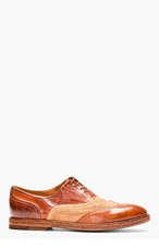 PAUL SMITH Brown leather & burlap DENNIS austerity brogues for men