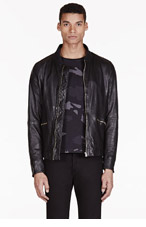 PAUL SMITH JEANS Black LEATHER ZIP UP JACKET for men