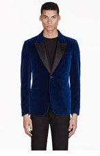 ALEXANDER MCQUEEN Teal Structured Velvet Blazer for men