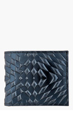 GARETH PUGH Metallic blue leather embossed wallet for men