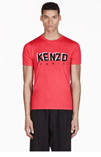 KENZO Coral Red Logo Graphic T-Shirt for men