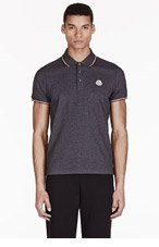 MONCLER Charcoal Cotton Piqué Polo for men
