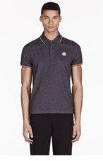 MONCLER Charcoal Cotton Piqué Polo for men