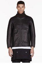 SASQUATCHFABRIX Black Bonded Leather Turtleneck for men