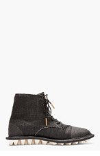 ADIDAS BY TOM DIXON BLACK CANVAS LACE UP BOOTS for men