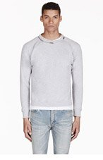 SAINT LAURENT Heathered Grey Zip Collar Sweater for men