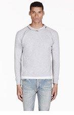 SAINT LAURENT Heathered Grey Zip Collar Sweater for men