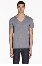 DIESEL Heathered Grey V-Neck Umtee-Jesse T-Shirt for men