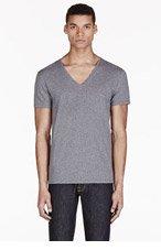 DIESEL Heathered Grey V-Neck Umtee-Jesse T-Shirt for men