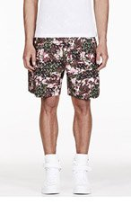 GIVENCHY Black Rose Print Pleated Shorts for men