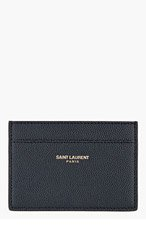 SAINT LAURENT Deep NAVY pebbled CARD HOLDER for men