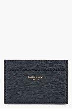 SAINT LAURENT Deep NAVY pebbled CARD HOLDER for men