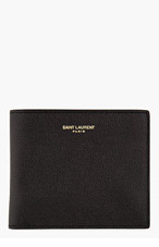 SAINT LAURENT BLACK pebbled BI FOLD WALLET for men