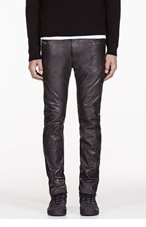 DIESEL Black Wrinkle Leather L Thavar Trouser for men
