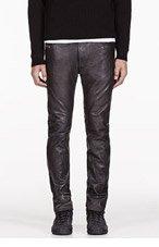 DIESEL Black Wrinkle Leather L Thavar Trouser for men