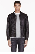 DIESEL Black Leather Bomber Ajuga Jacket for men