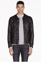 DIESEL Black Leather Bomber Ajuga Jacket for men