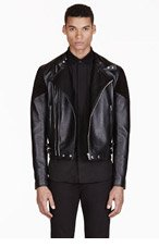 GIVENCHY Black Ribbed Leather Biker Jacket for men
