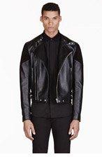GIVENCHY Black Ribbed Leather Biker Jacket for men
