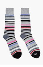 PAUL SMITH Grey multicolor STRING STRIPE SOCKS for men