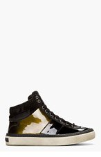 JIMMY CHOO Black Patent Leather Belgravia Hi-Tops for men