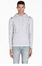 SAINT LAURENT Heathered Grey Hooded Zip Sweater for men