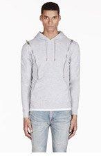 SAINT LAURENT Heathered Grey Hooded Zip Sweater for men