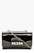 VALENTINO Black Patent Leather & pyramid stud Va Va Voum Bag for women