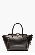 VALENTINO Black Leather Rockstud Small Trapeze Tote for women