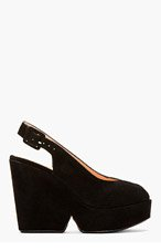 ROBERT CLERGERIE Black Suede Slingback Dylang Wedges for women