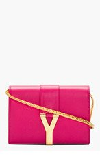 SAINT LAURENT Fuchsia Leather Foldover Y Satchel for women
