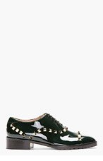 VALENTINO Deep green patent ROCKSTUD t.25 oxfords for women