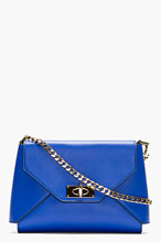 GIVENCHY Royal blue leather Shark lock Envelope shoulder bag for women