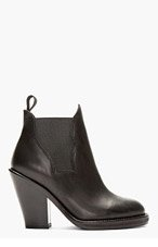 ACNE STUDIOS Black leather Curved Gusset Star Ankle Boots for women