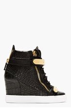 GIUSEPPE ZANOTTI Black croc-embossed Loren Z75 Wedge Sneaker for women