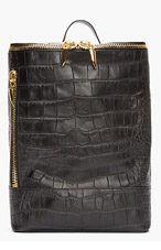GIUSEPPE ZANOTTI Black Croc-Embossed Leather Navako Backpack for women