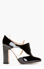VALENTINO Black & Ivory high-heeled cut out oxfords for women