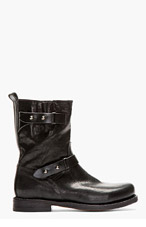 RAG & BONE Black leather textured Biker Boots for women