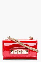 VALENTINO Red Patent Leather & pyramid stud Va Va Voum Bag for women